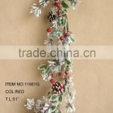 newest special artificial snowy pine needle and foam red berry garland for chrismas home decoration