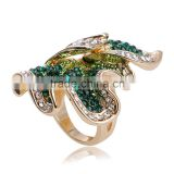 Sylish Fashion Jewelry Rings Blue Red Green Austrian Crystal 18k Gold Gp Flower Ring
