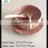 Bamboo ceramic Baby soup bowl with spoon & plate set