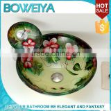 Hot New Products For 2015 Corner 16.5 Inch Double hand wash Glass Sink Bowl for bathroom