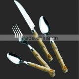 Bamboo decorative plastic handle cutlery