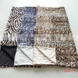 knit printed pv fleece throw with short fur backing