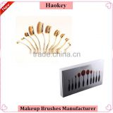 10pcs per set nylon oval make up brush for cosmetic and foundation brush with makeup brush box