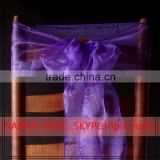 2016 Hot sale Fancy Purple Organza chair sashes for weddings                                                                         Quality Choice