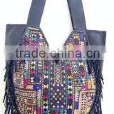 New popular crazy designs leather handmade vintage banjara shoulder bag with leather tassels