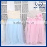 CH019F Angela Wedding New 2015 wedding rosette chiffon top decorative high back puffy tutu light blue tulle chair cover
