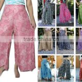 vtg HIPPIE BOHO chic yoga art pattern gypsy yoga thai fisherman wide leg skirt maxi pants