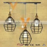 Manufacturer's Premium Wire Cage Pendant Lamp Industrial Track Light Vintage Aged Steel Hanging Lamp