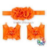 Cute Orange Barefoot Sandals Pattern Kids Girls Elastic Headbands With Sandals Shoes