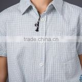 100% cotton short sleeve boy's yarn dyed check button up shirt