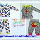 Embroidery baby animal pajamas/kids clothing set