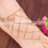 Sexy Women's Beach Barefoot Fish Net Toe Ring Anklet Bracelet Foot Ankle Chain
