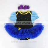 newborn 0-12monthes royal blue pettiskirt infant short sleeve t shirt ,baby dress,kids rompers with headband