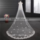 2017 Hot Sale Long Lace Wedding Dresses Bridal Veil long Tulle handmade beads emboied lace wedding veils