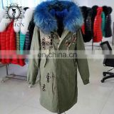 high-end Italy style super big fur hood military long fur parka jacket