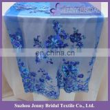 TR012A Sequin Embroidered Blue Organza Table Runner
