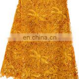 wholesale gold color african chemical lace fabric