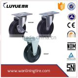 4 inch industrial fixed rubber wheel Castor for hand Trolley