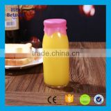 Food grade 250ml beverage juice bottle glass milk bottle with silicone cap