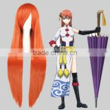 High Quality 100cm Long Orange Cosplay Hair Wig Bleach Synthetic Anime Wig
