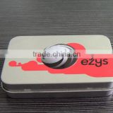 logo embossed small hinged candy box/cigarette tin packaging box