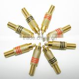 High Quality Brand New 500cs Gold Plated RCA connector Male Plug Connectors Cable Protector Red & Black
