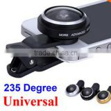 fisheye lens for mobile and camera,mini camera lens fisheye/wide/macro 3in1 lens kit for projector