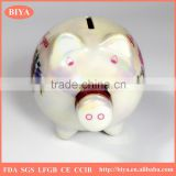 porcelain pig savings bank money box coin box print colorful pearl glazed for souvenir and decorative used,accept custom logo