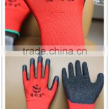 2015hot selling polyester latex gloves/wrinkle gloves with red latex coated gloves work , blue gloves , c
