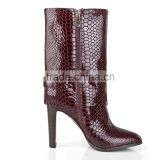 Sexy autumn boots women 2015 high heel boots hot snake skin fashion party style genuine leather ankle boots