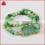 Sea Sediment Jasper Beaded Stretch Bracelet Jewelry With Druzy Bar Stone For Women 2016