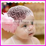 6-24M Baby Girl Crochet Lace Headband Peony Flower Hair Bow STRETCH Band
