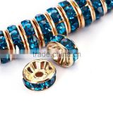 Gold Plated Blue Zircon Color #229 Rhinestone Jewelry Rondelle Spacer Beads Variation Color and Size 4mm/6mm/8mm/10mm