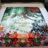 In front of the digital printing Sari boundary scenery on the bed cover