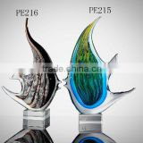 FISH HAND BLOWN GLASS ART GOLD FIGURINE FISH COLLECTION/DECOR                                                                         Quality Choice