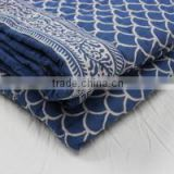indigo blue block print quilts jaipuri Bed covers kantha quilt wholesale kantha throw From