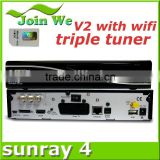 sunray sr4 v2 with sim 2.20 Rev E satellite receiver in stock of sunray4 hd se triple tuner V2
