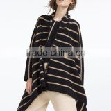 Pointed shawl cap Stripes knit cardigan women sweater feather yarn 60% polyester, 39% linen, 1% elastane