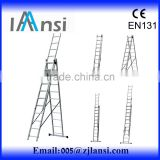 3 layers combination aluminum ladder, free standing multifunction extension ladder, 3 section extension ladder