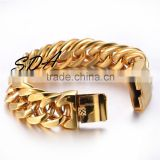 "wholesale 8.5""/18mm wide fashion stainless steel jewelry handmade magnetic custom mens charm gold bracelet top quality SN143-G"