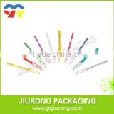 Disposable different colors and shapes plastic cocktail stirrer and fruit fork