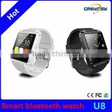 GR-U8 Multifunction universal smart wrist watch pedometer ,bluetooth smartwatch for Iphone and android