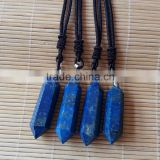 natural rock lapis lazuli hexagon prism crystal gemstone pendants double points for gift