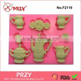 F2119 Tea Set & Roses Silicone Mould, cake decorating tools,high quality silicone molulds                                                                                                         Supplier's Choice