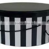 black and white hat box packaging with rope handle