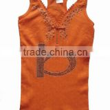 Fashion and breathable women's seamless tank top with diamond,zipper and fashion broidery design