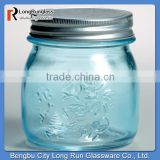 "LongRun 3.5"" Light Blue Glass Mason Jars with LIds Fancy Glass Holder With High Quality"