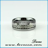 Guangzhou factory custom silver men carbon fiber ring top quality folish stainless steel band thumb ring