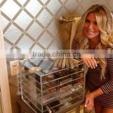 Acrylic Cosmetics Makeup Organizer Drawer or Jewelry Chest with 5 Removable Drawers and 1 Lid