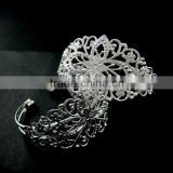 vintage style filigree base tray bezels silver plated brass bracelet blank cuff DIY supplies 1900051